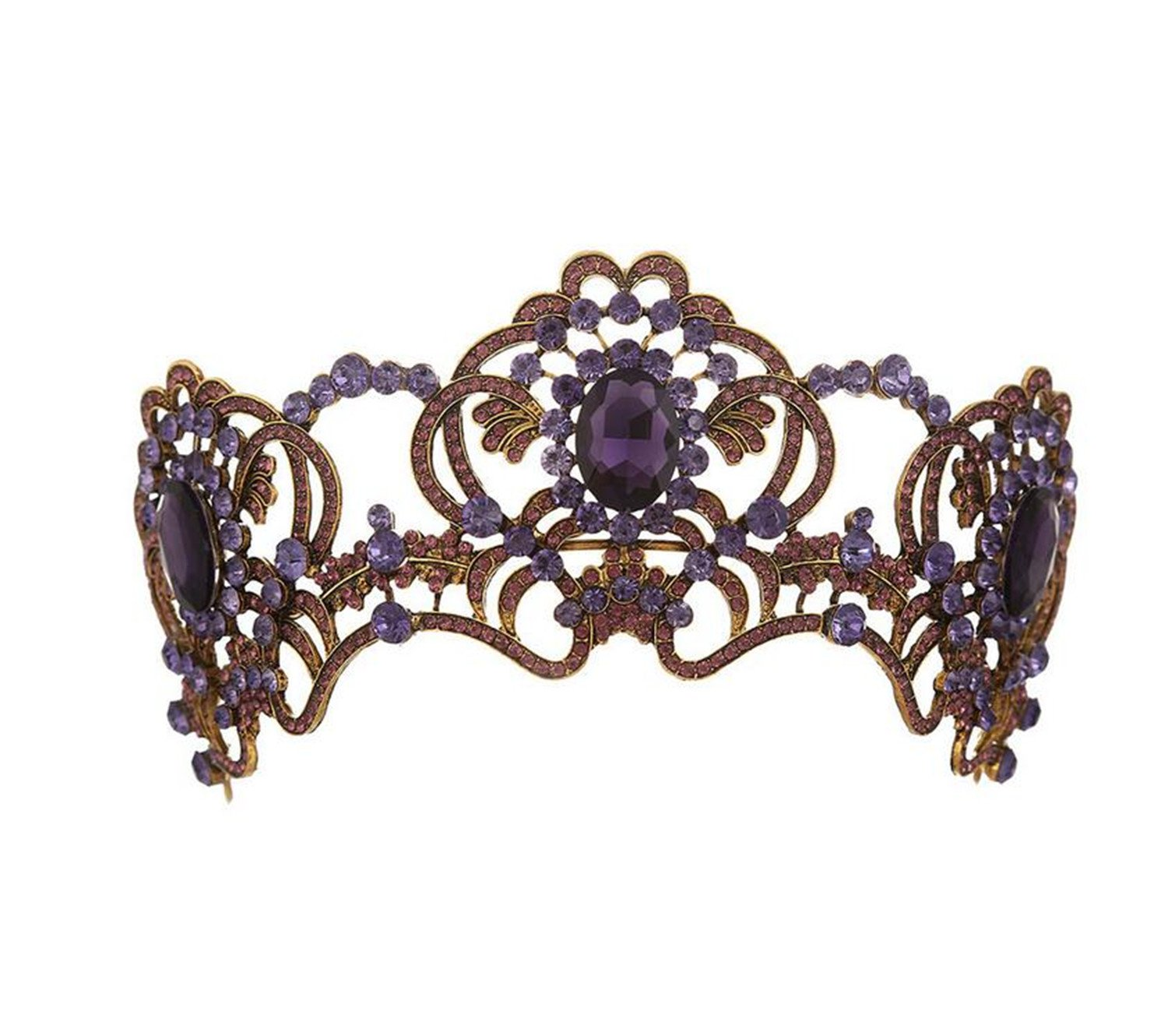 Wiipu Luxury Large Antique Brass Purple Crystal Wedding Party Pageant Prom Tiara Crown(A2056)