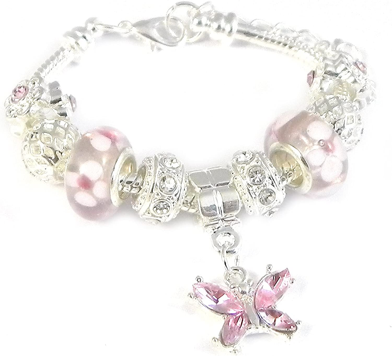 SanaBelle/™ Pink Butterfly Charm Bracelet Girls//Womens