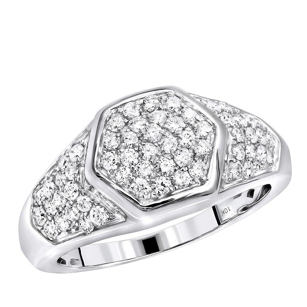 Mens Diamond Rings 10k Gold Diamond Bands Octagonal Shape 1.1ctw (White Gold, Size 9.5)