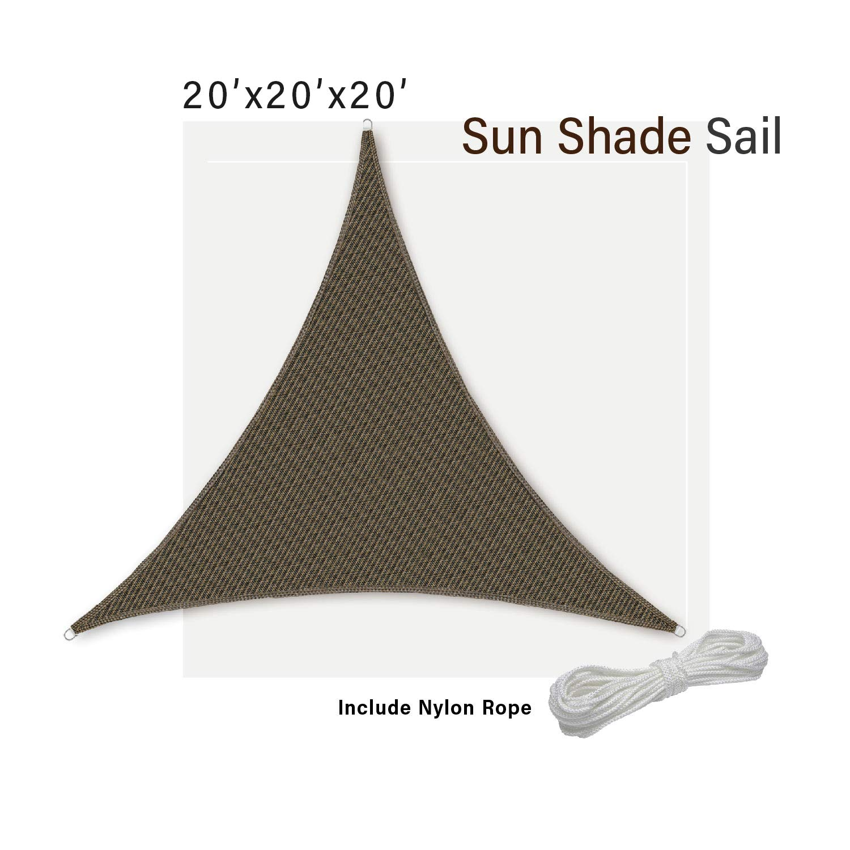 SunnyRoyal 20''x20''x20'' Sun Shade Sail Gazebos for Patios Backyard Triangle Shade Screen Deck UV Block Awing Fabric, Brown
