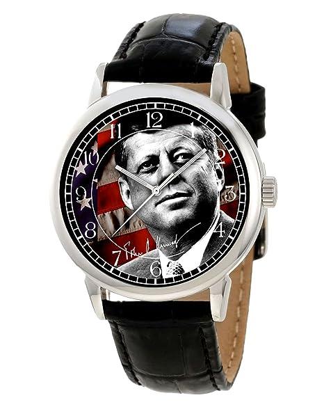 Presidente John F. Kennedy conmemorativa de coleccionista Edition Reloj de pulsera. JFK bandera de