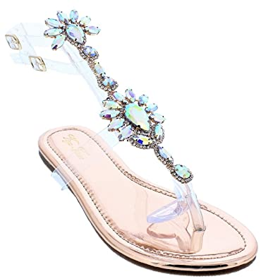 bb851df33d10 Liliana Marlo-9 Gladiator Lucite Clear Strap Rhinestone Bling Flats Sandal  Rose Gold 6