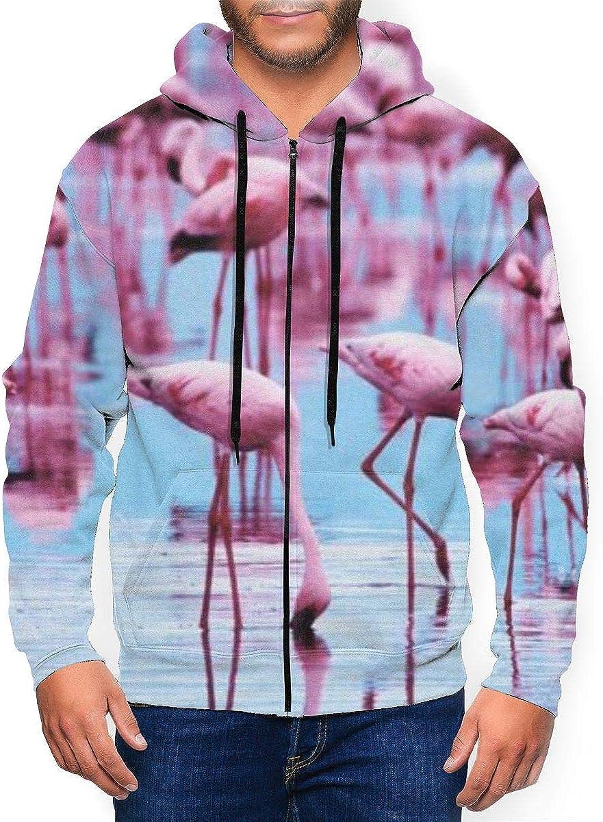 Flamingo Mens Big /& Tall Full Zip Hooded Sweatshirt Top for Mans Boys