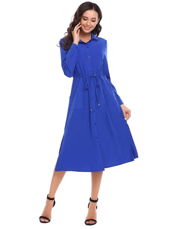 Finejo Damen Rockabilly 50er Vintage Retro Kleid Swing Kleider Langarm Hemden Kleid Lang A-Linie
