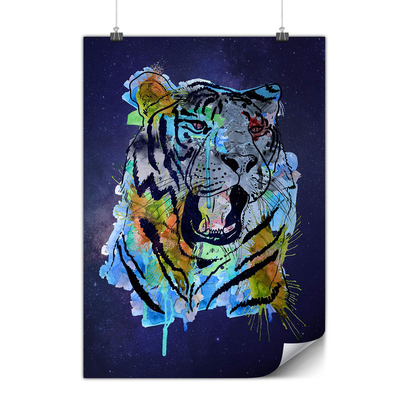 Tiger Art Paint Animal Poster Asia A4 (30cm x 21cm) GLOSSY Ideal for  Framing, Easy to Hang, Heavy Weight Paper Art By Wellcoda: Amazon.ca: Home  & Kitchen
