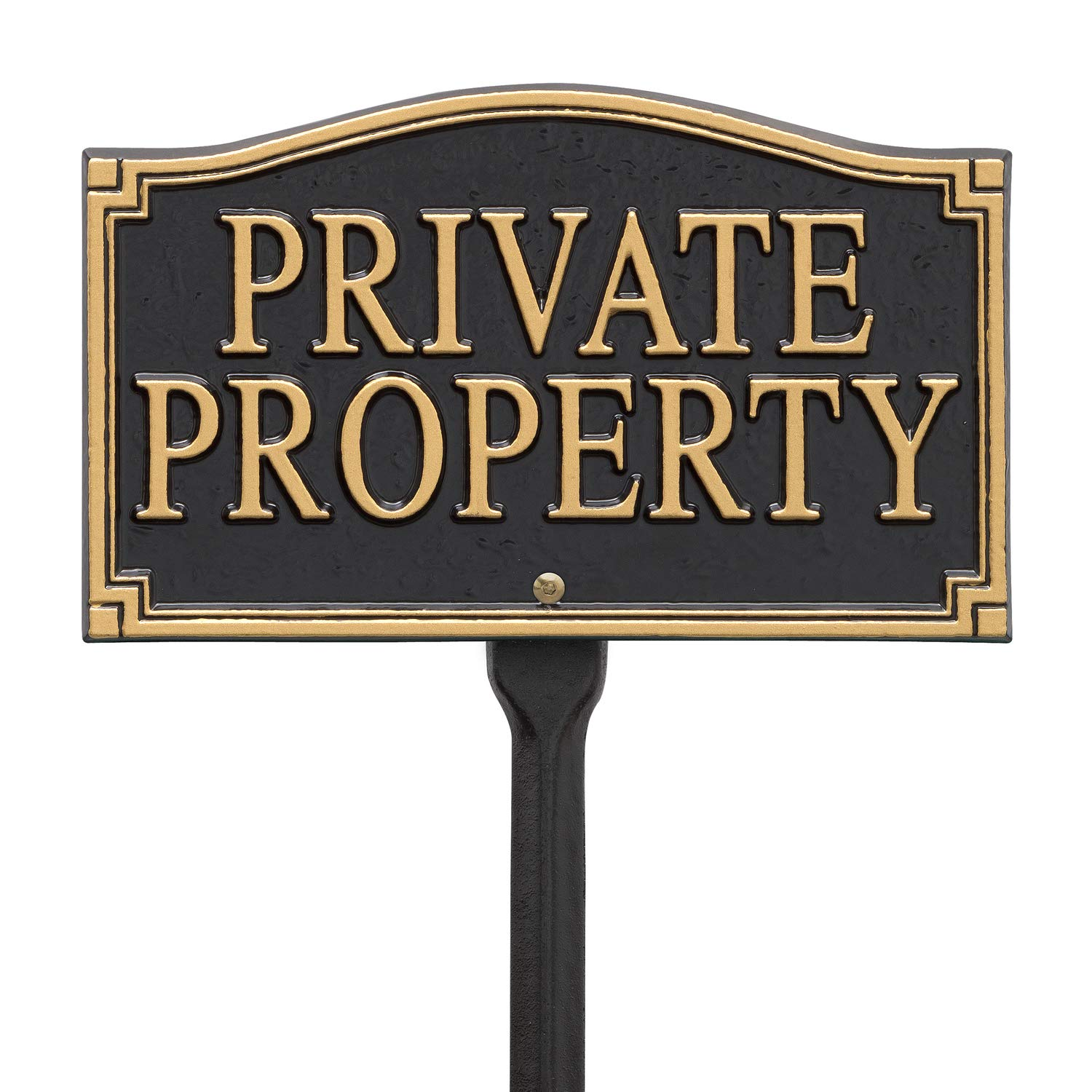Whitehall Products Private Property Wall/Lawn Statement Plaque, Black/Gold