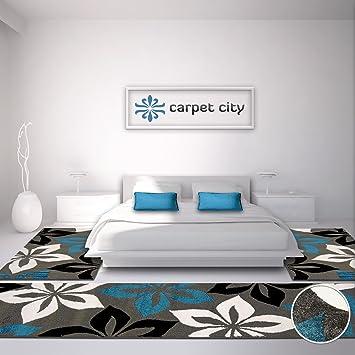 Carpet City Bettumrandung Teppich Läufer Flachflor Kurzflor Moda Mit  Blumen Muster In Türkis,