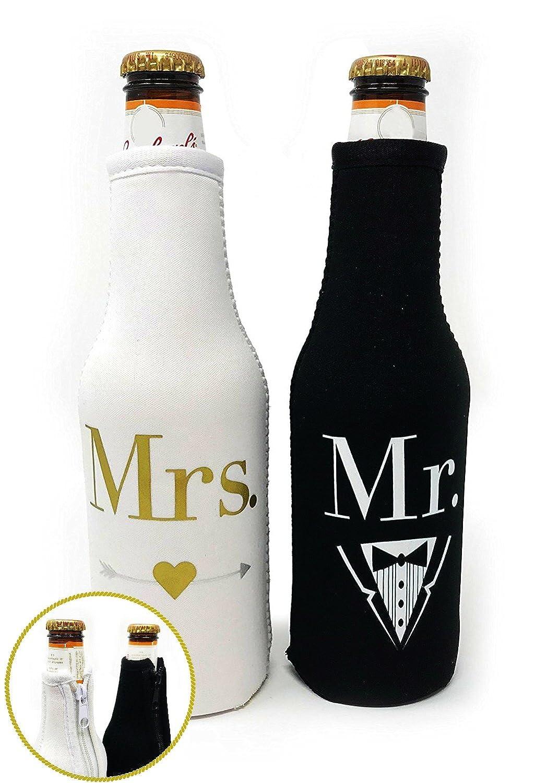 Mr. & Mrs. Beer Bottle Cooler Sleeves Black & White Gift Set 2 Pack - Perfect for Wedding, Bridal Shower, Engagement Party & So Much More. Forum Novelties