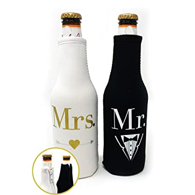 Mr. & Mrs. Beer Bottle Cooler Sleeves Black & White Gift Set 2 Pack - Perfect for Wedding, Bridal Shower, Engagement Party & So Much More.
