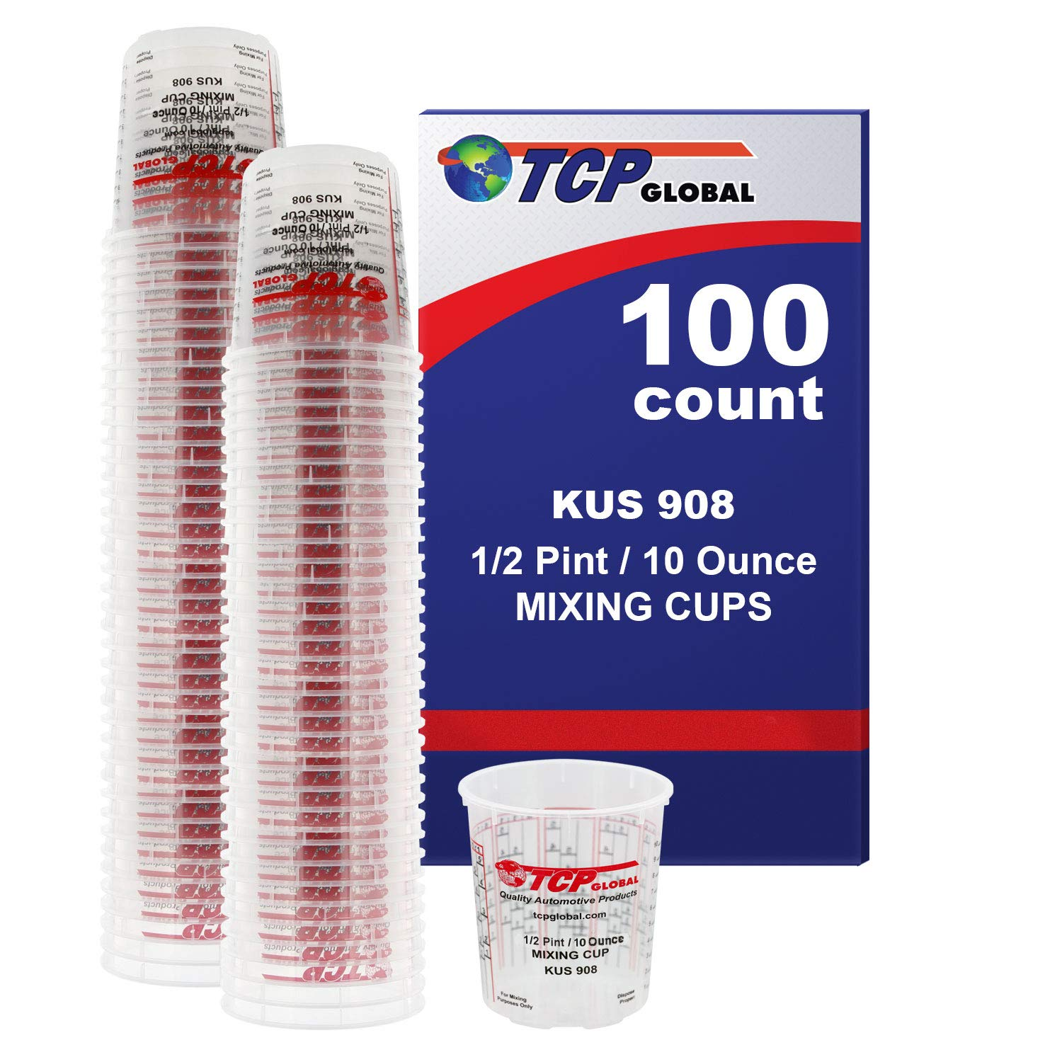 Custom Shop Brand (Full Case of 100 Each - 1/2 Pint (8oz) Paint Mixing Cups) - Cups Have Calibrated Mixing Ratios on Side of Cup BOX of 100 Cups by Custom Shop