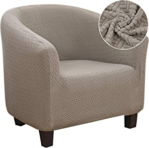 SearchI Armchair Slipcover, Stretch Spandex Jacquard Chair Sofa Cover Slipcover Furniture Protector Soft Couch Covers with Elastic Bottom for Kids, Pets(Club Chair, Camel)