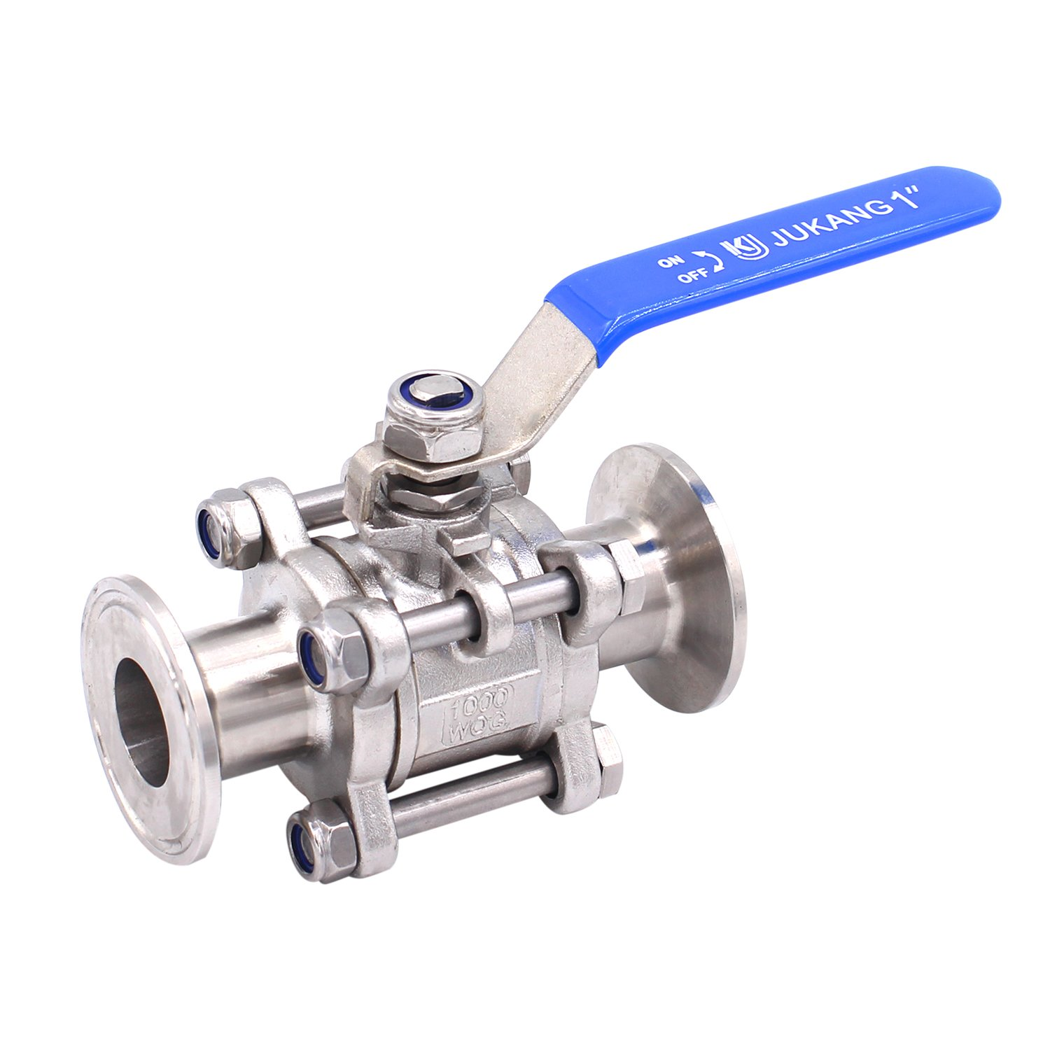 Dernord 1''Sanitary Ball Valve Fits 1.5'' Tri-Clamp Clover Stainless Steel 304, PTFE Lined, Two Way & Three Piece (1 Inch Tube OD Quick Clamp)