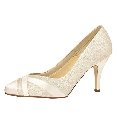 33365c06bd Rainbow Club Mila Wide Fit (EEE) Ivory & Silver Glitter Dyeable Satin Shoes  (
