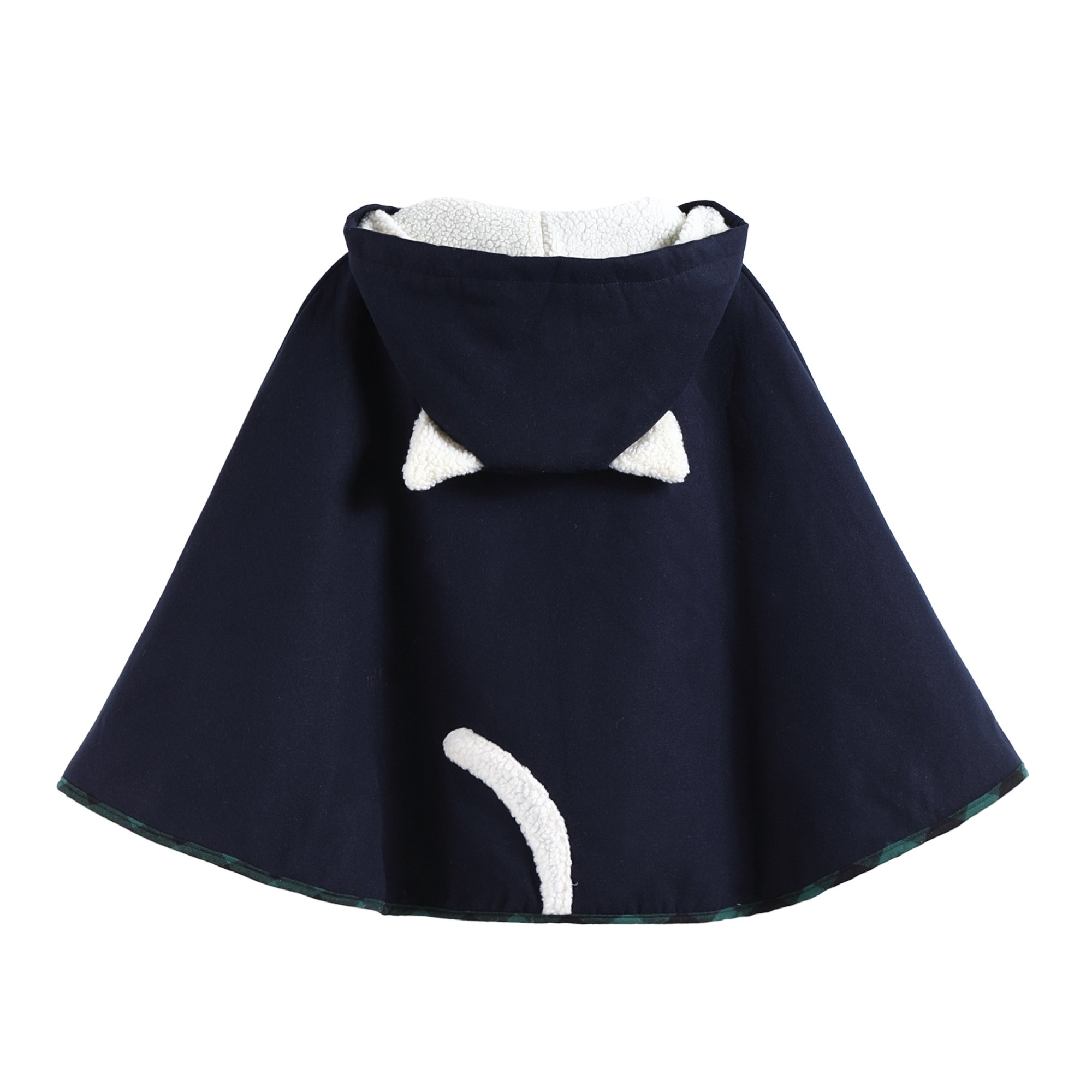 Aza Boutique Womens Cute Button Down Tweed Cat Ears Hooded Cape,One Size,2_navy_fleece