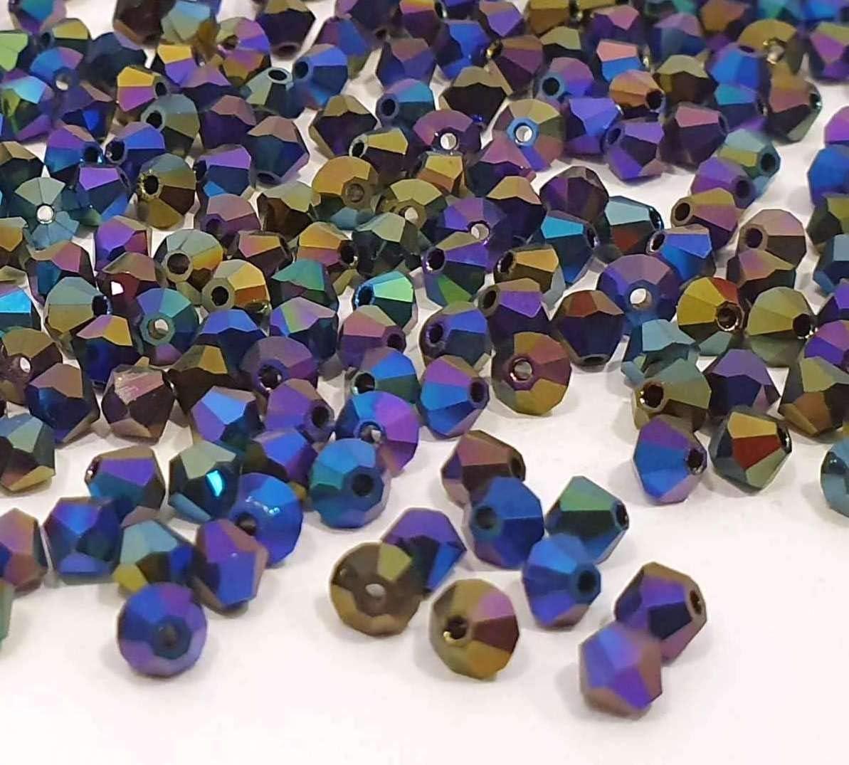 160 pezzi Preciosa perline di cristallo Boemia 4 mm doppio cono perle di vetro sfaccettate mix di perline cece