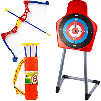 Toysery Kids Archery Bow and Arrow Toy Set - Target with Stand Indoor, Outdoor Garden Fun Game - Best Archery Bow & Arrow Toy Set for Kids Age 3 and Up: Toys & Games