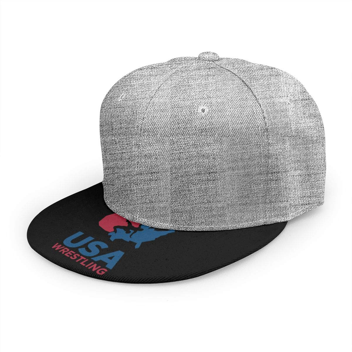 Adjustable Women Men USA Wrestling Logo Print Baseball Cap Flat Brim Cap Hats Hip Hop Snapback Sun Hat Boys Girls Gray by Apolonia