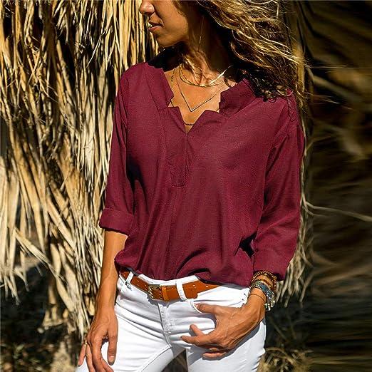 Hoverwin Camisas Mujer Moda Camiseta Elegantes Chifón Blusas de ...