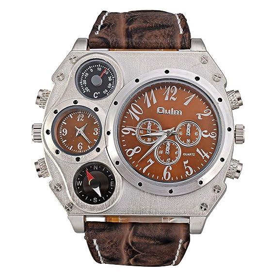 Hombre Reloj deportivo, Relojes militares Doble movimiento Dentada doble Termómetro Brújula Aire libre Reloj de