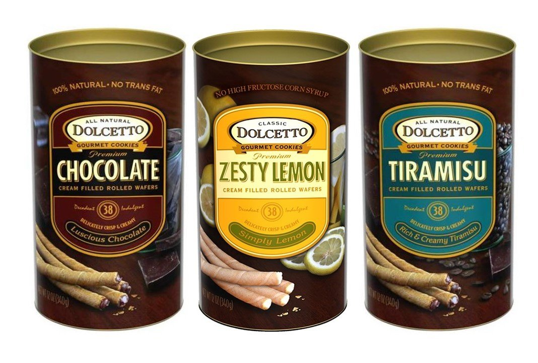 Dolcetto Premium Cream Filled Rolled Wafers Gourmet Cookies 3 Flavor Variety Bundle: (1) Dolcetto Luscious Chocolate, (1) Dolcetto Meyer Lemon, and (1) Dolcetto Tiramisu, 12 Oz. Ea. (3 Cans Total)