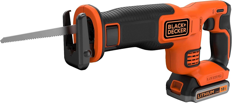 Black+Decker BDCR18E1-QW - Sierra de sable inalámbrica (1 batería, 1 hoja de 140 mm)