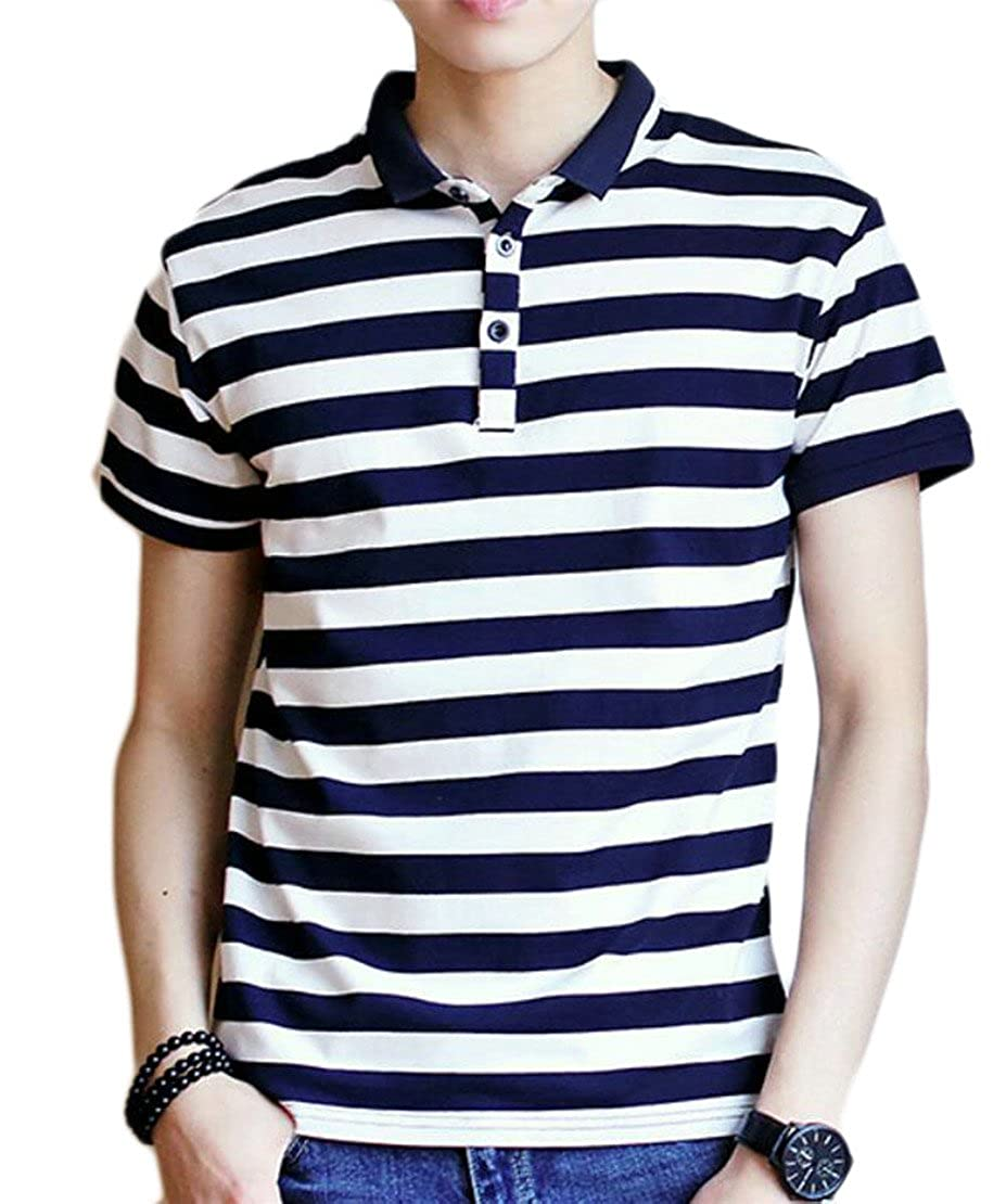 Ainr Mens Fashion Short Sleeve Turn Down Collar Casual Button