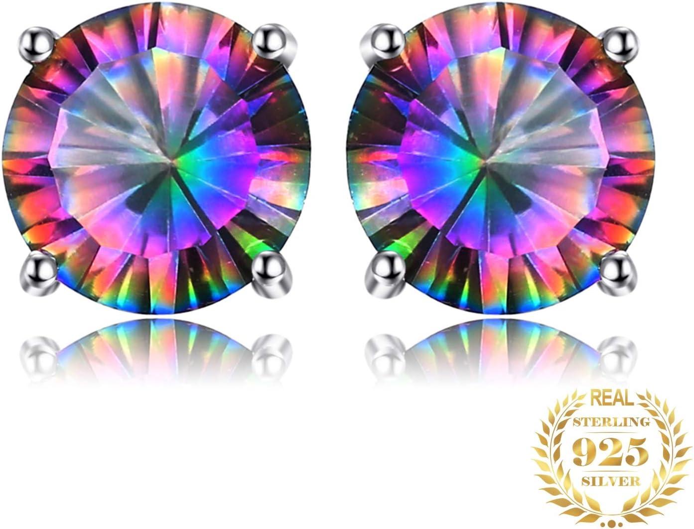 NOBRAND Aretes De Plata Mujer Topacio Stud Pendientes 925 Pendientes De Plata para Mujer Pendientes De Piedras Preciosas Joyería De Moda