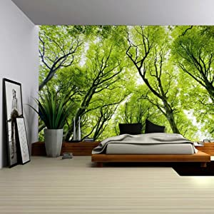 Nature Forest Farm House Decor Tapestry Green Forest Tree Woodland Sunbeams Scenery Landscape Wall Hanging for Bedroom Living Room Dorm Home Art(Green, 78Wx59L)
