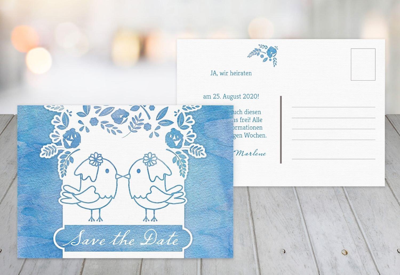 Save-the-Date Vogelpaar - Frauen, 80 Karten, MattGrün B07B6NK737 | Starker Wert  | Neuartiges Design  | Verkauf Online-Shop