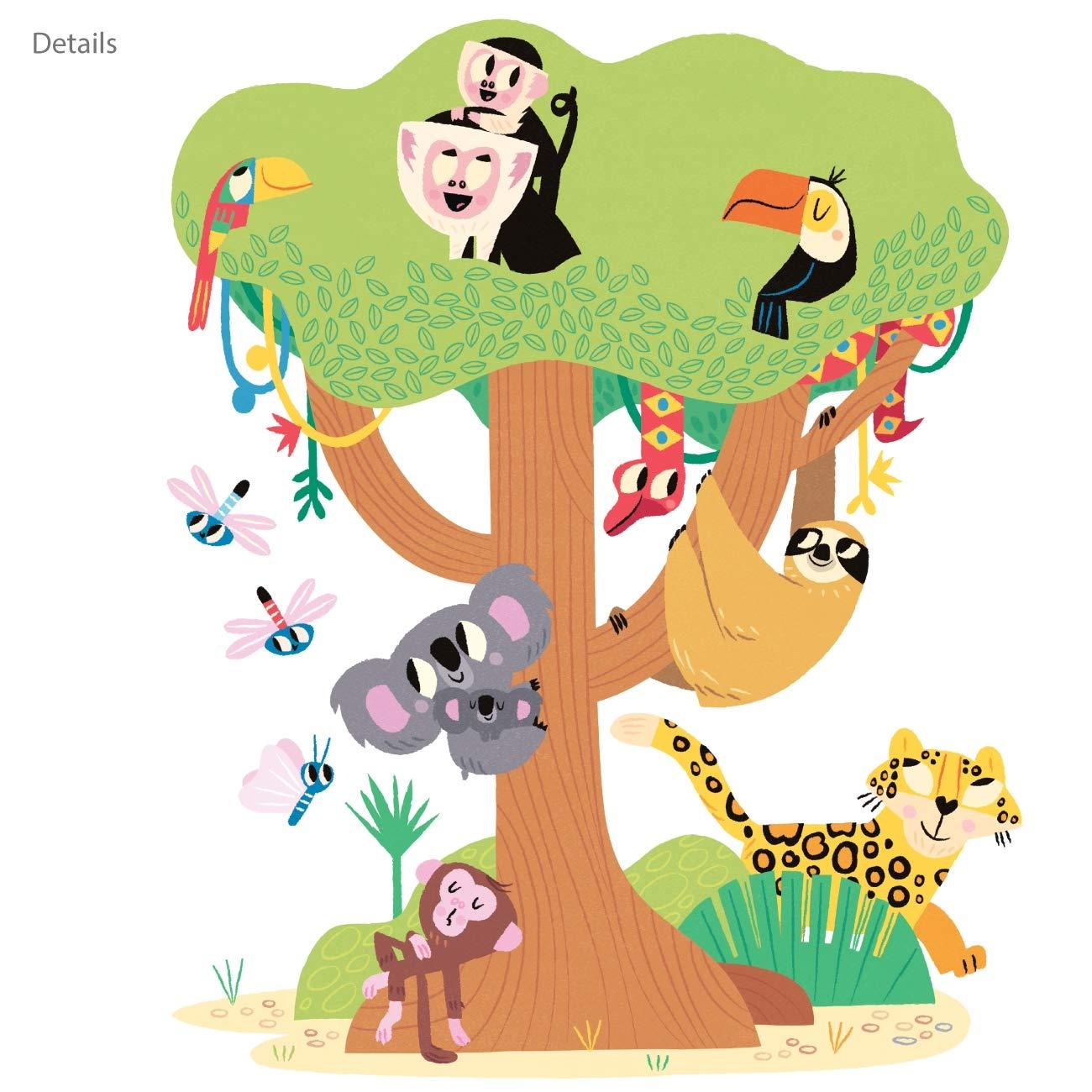 DECOWALL DW-1909 Feliz Selva Animales Vinilo Pegatinas Decorativas Adhesiva Pared Dormitorio Sal/ón Guarder/ía Habitaci/ón Infantiles Ni/ños Beb/és