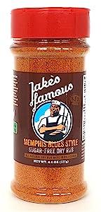 Jake's Righteous Rubs Famous Memphis BBQ Rub, No Sugar Pork rub, Vegetable Seasoning, Memphis Rub for Ribs, Santa Maria Tri Tip roast marinade, and Boston Butt Rub, No MSG, Made In USA 4.5 Oz
