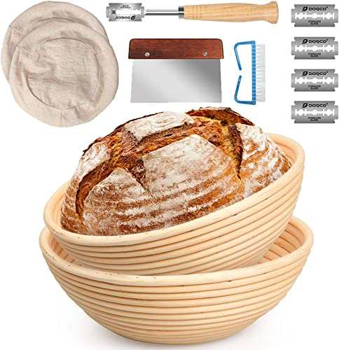Fideco 10 Inch and 9 Inch Banneton Bread Proofing Basket Set