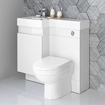 900mm White Vanity Unit Modern Toilet Bathroom Sink Left Hand Storage  Furniture
