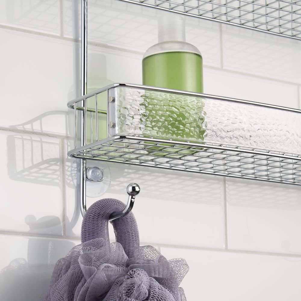 InterDesign Rain Hanging Shower Caddy – Wide Bathroom Storage Shelves for Shampoo, Conditioner and Soap, Clear/Chrome by InterDesign (Image #7)