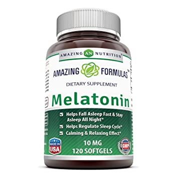 Amazing Formulas Melatonin 10 Mg 120 Softgels - Best Choice of Natural Sleep Aid Supplement Promotes