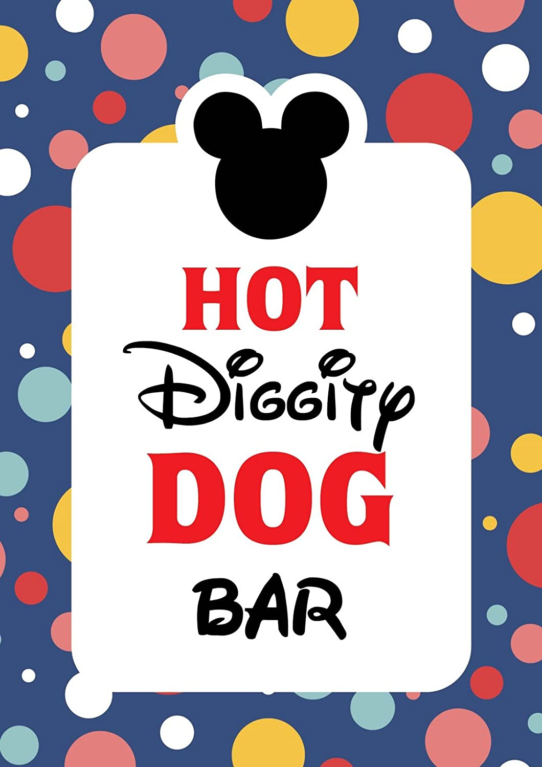 graphic relating to Mickey Printable identified as Mickey Mouse Celebration products Mickey Mouse Clubhouse motivated Doorway Indicator  Sizzling Diggity Canine Bar Bash Signal - 8 x 10 dimensions - Published inside Card Inventory