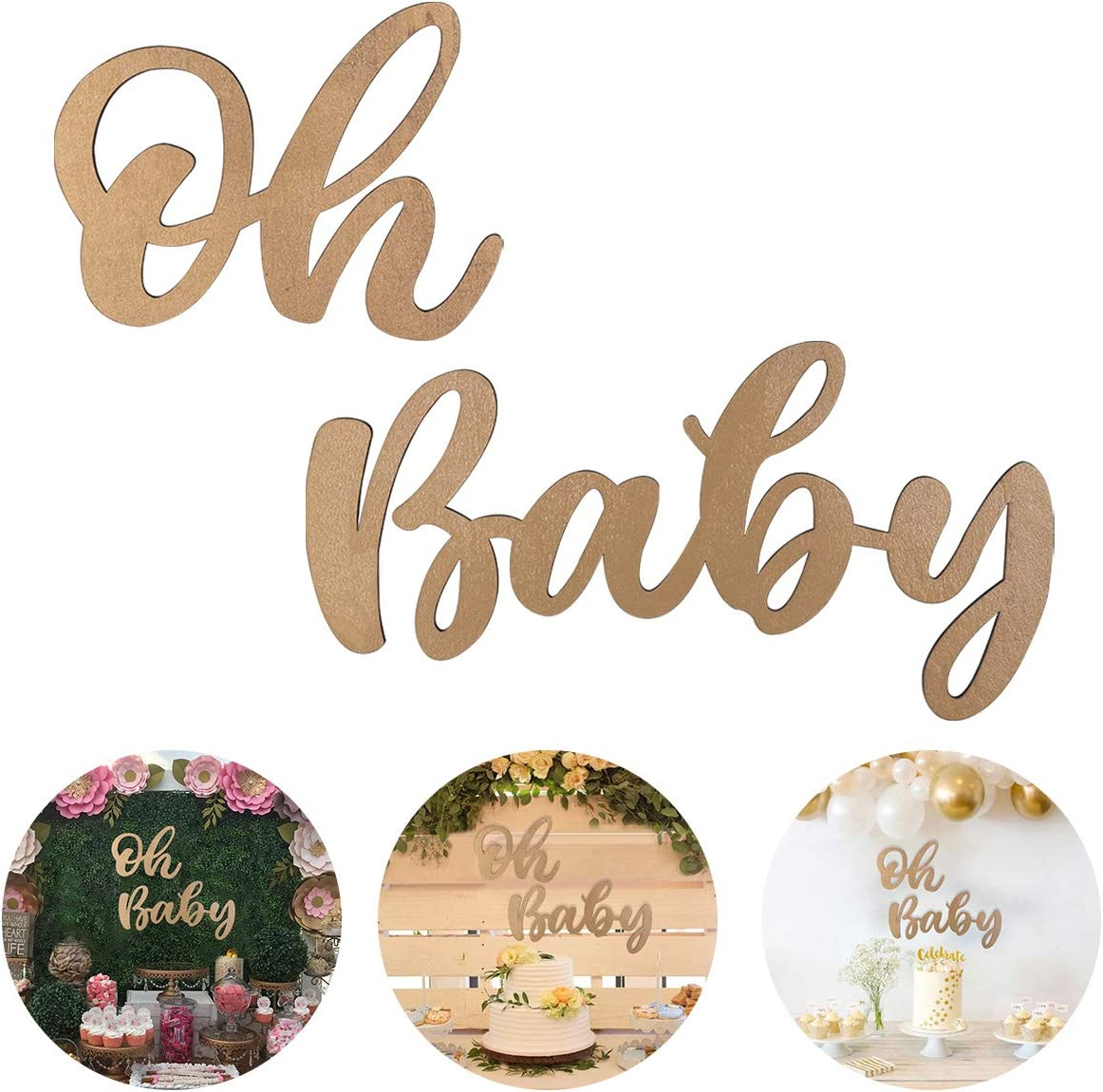 Gold Oh Baby Sign for Baby Shower, Oh Baby Wood Sign for Boy Girl 1st Birthday Party Decor, First Birthday Wooden Cutout Oh Baby Banner Nursery Decor Wall Plaques