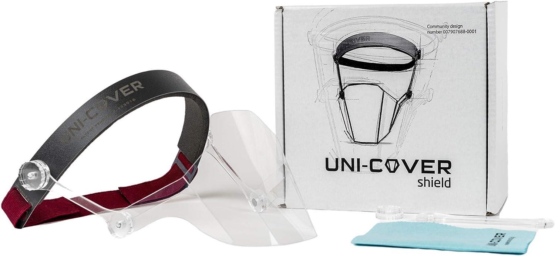 Visera Uni-Cover para protección de nariz y boca, transparente, perfectamente ajustado, protección facial de plástico, protección nasal, fácil de limpiar Gris