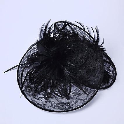 Adoudou Pluma Tiara Sombrero Vintage Tocado Artesanal Británico Moda Damas Lino Sombrero Flor Pluma Malla Velo Boda Té Coffee Party Derby (Negro): ...