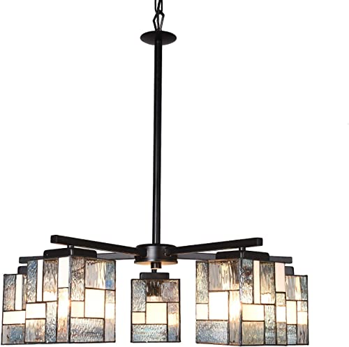 Artzone 5-Light Chandelier Tiffany Style Dining Table Light Black Finishing Dining Room Chandelier Hanging Pendant Lighting Adjustable Kitchen Light Fixture