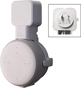 Mount Genie [[Australian Plug Version]] Affordable Essentials Dot (3rd Gen) Voice Assistant Wall Mount Stand. [No Muffled Sound]. Best Fit. Exposed Speaker Grill and Mics and Lights (White)