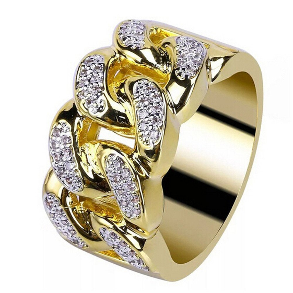 Tuu Diamond Rings,Men and Women Gold Ring Wedding Ring Jewelry Gift (11, Gold)