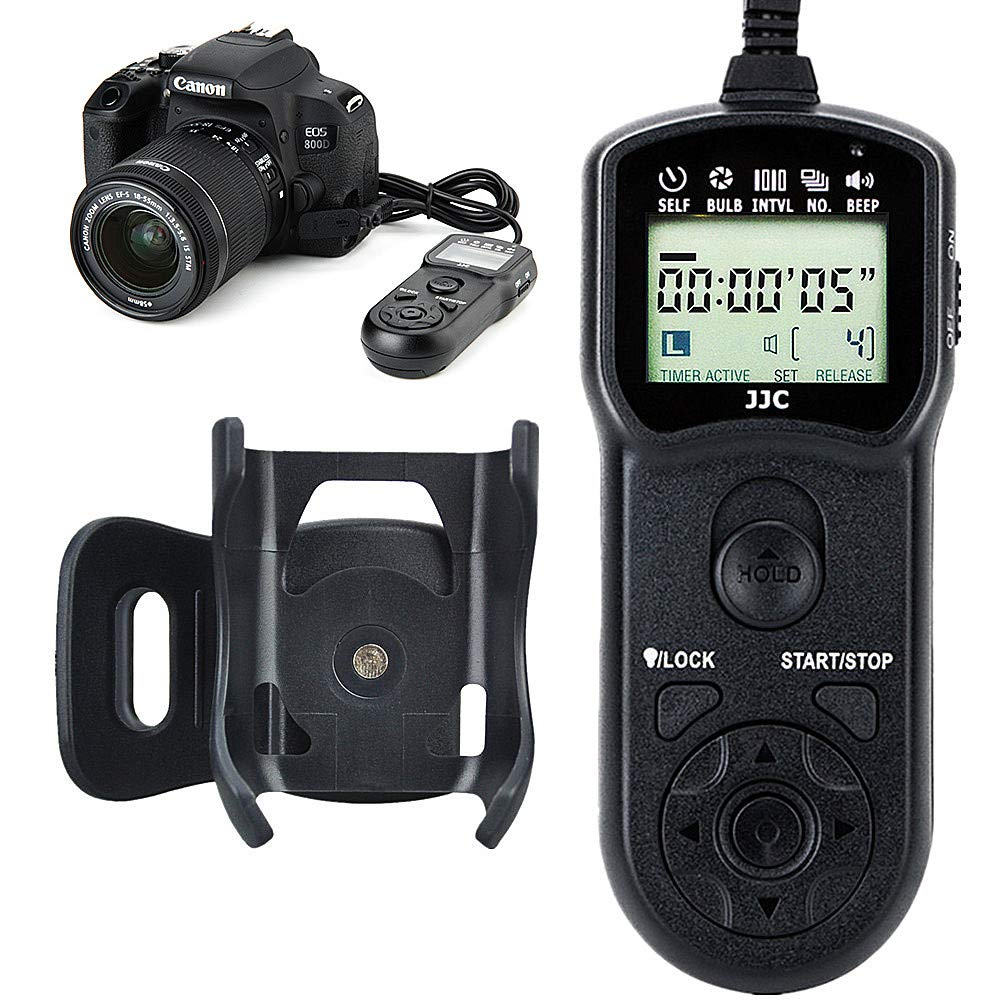 JJC Timer Remote Control Shutter Release for Canon EOS R 80D 77D 70D 60D Rebel T7 T7i T6 T6s T6i T5 T5i T4i T3i T2i SL1 SL2 M5 M6 G1X II III G3X G5X SX50HS SX60 HS G10 G11 G12 G15 G16 as Canon RS-60E3
