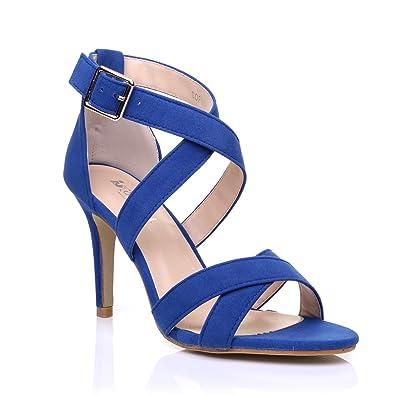 aff0823192 Sophie Royal Blue Faux Suede Strappy High Heel Sandals Size UK 8 EU ...