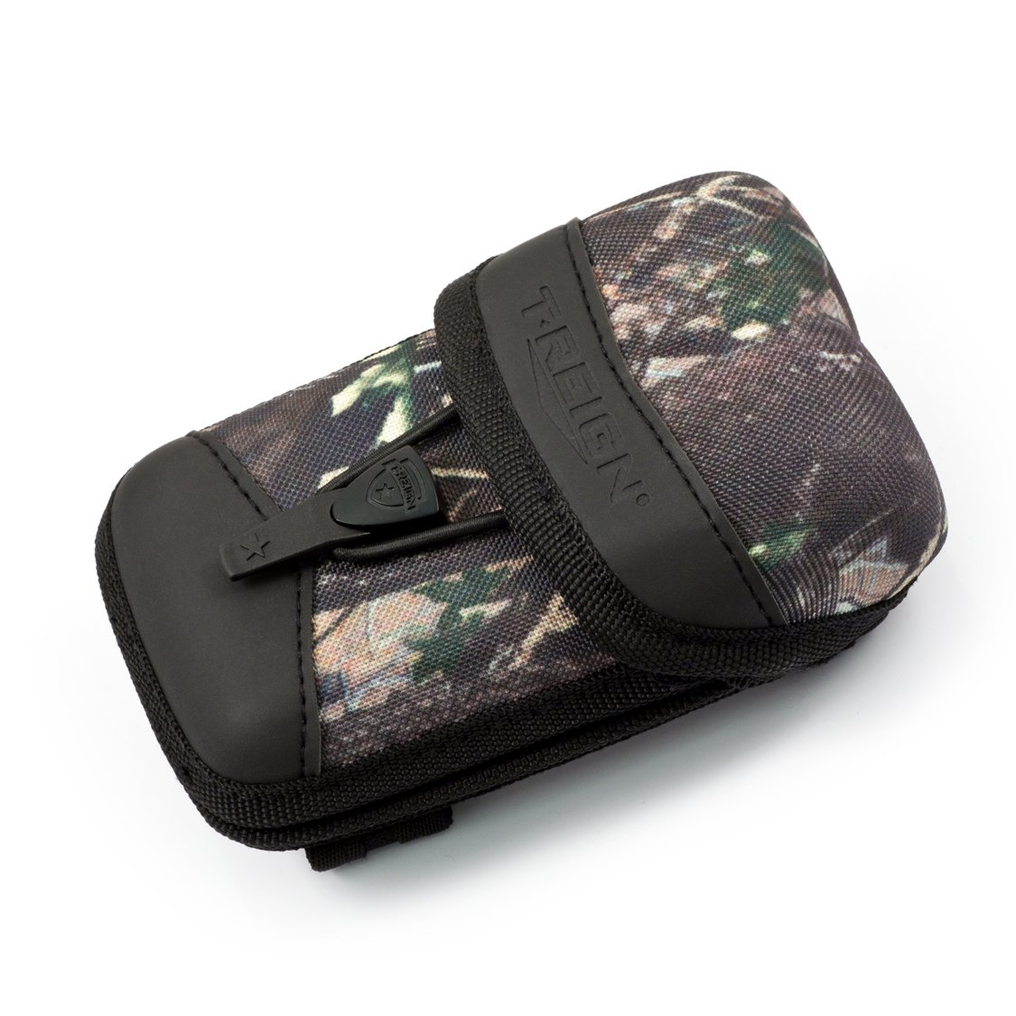 T-REIGN Large ProCase Rigid Weather, Water and Impact Resistant Rangefinder Case with 36'' Kevlar Retractable Tether, Camo Print