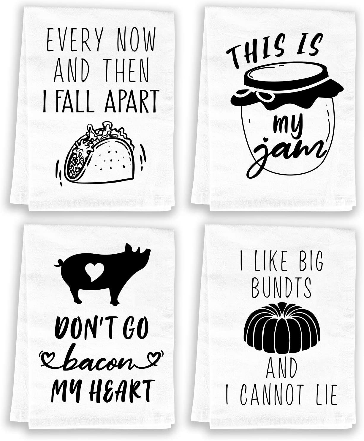 Amazon Com Miracu Funny Kitchen Towels And Dishcloths Sets Of 4 Birthday Housewarming Gifts New Home Cotton Dish Towels For Drying Dishes Cute Decorative Hand Towels Tea Towels Flour Sack