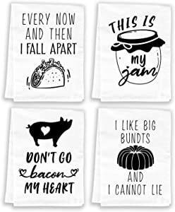 Funny Kitchen Towels and Dishcloths Sets of 4 - Cotton Dish Towels for Drying Dishes - Cute Decorative Miracu Hand Towels, Tea Towels, Flour Sack Towels, White - Birthday, Housewarming Gifts New Home