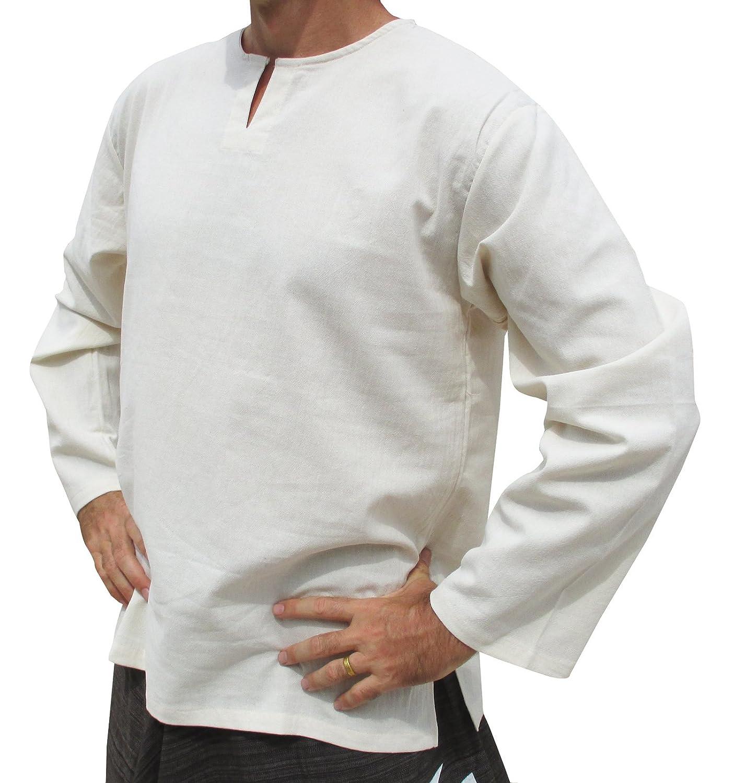 Raan Pah Muang Brand Soft Summer Textured Cotton Open Slit Collar Long Sleeve Shirt variant24250AMZ