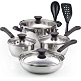 Cook N Home 10 Pieces Stainless Steel Cookware Set, Silver