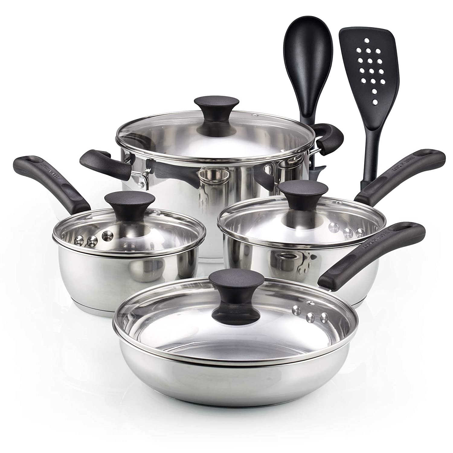 Cook N Home 02642 10 Pieces Stainless Steel Cookware Set, Silver